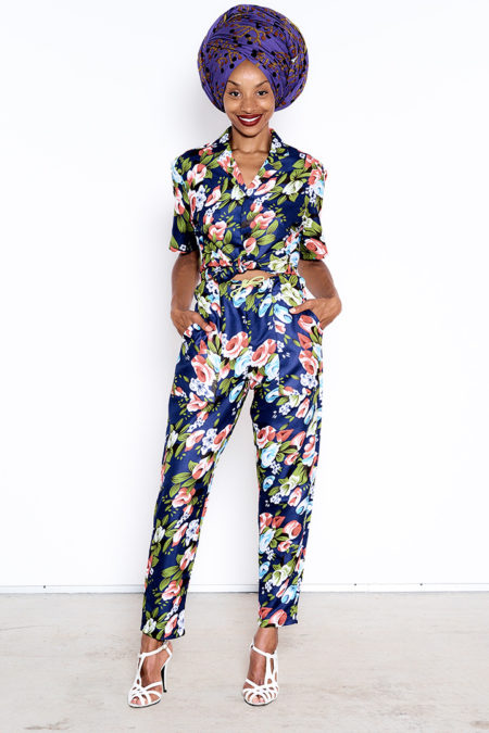 COSMOS TROUSERS WITH FLORAL PRINTS