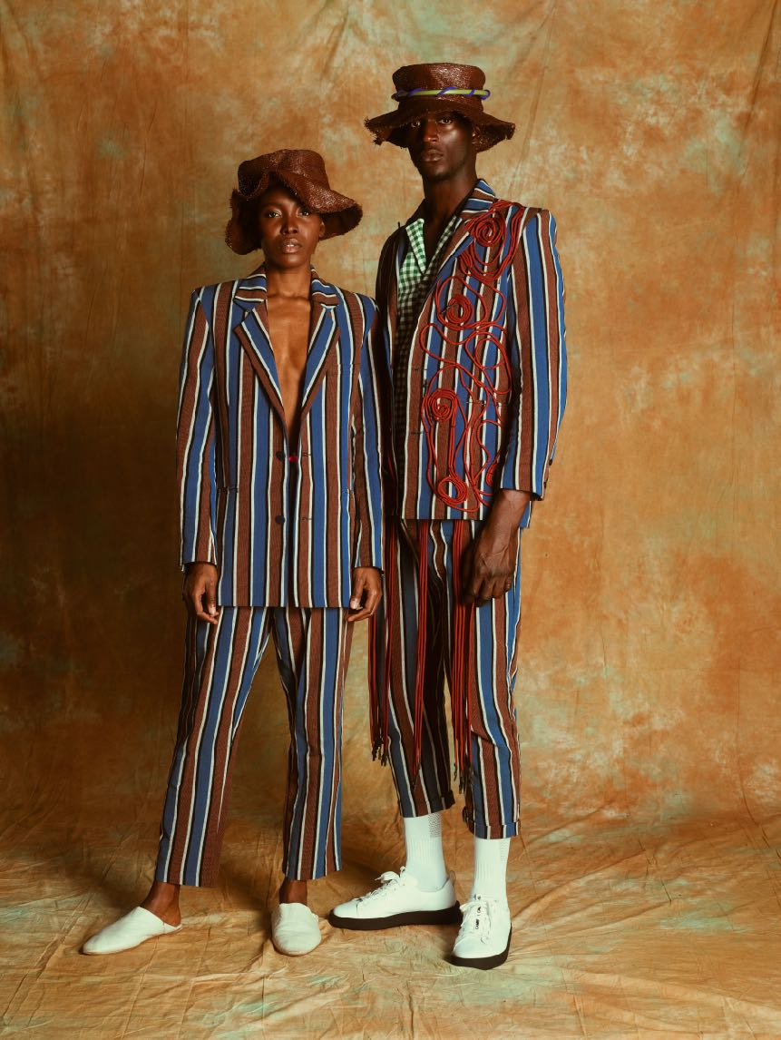 2 models wearing jay striped outfit